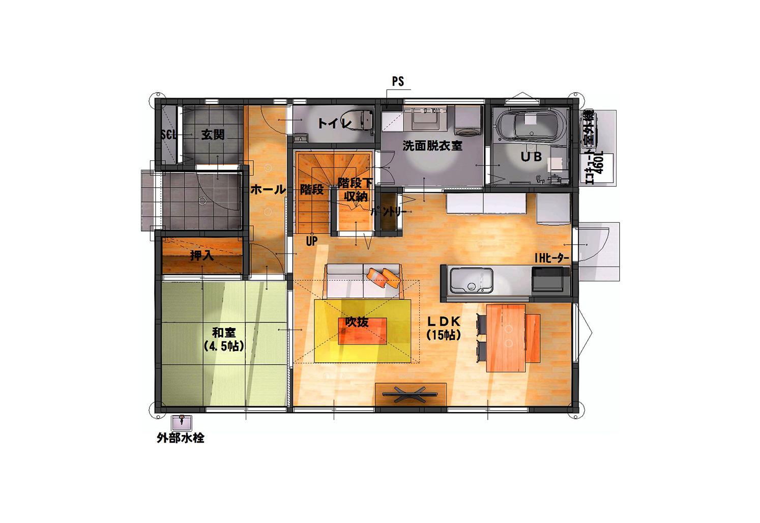 03 宮城県岩沼市吹上一丁目 3LDK (4LDKに変更可) 間取り図 1階