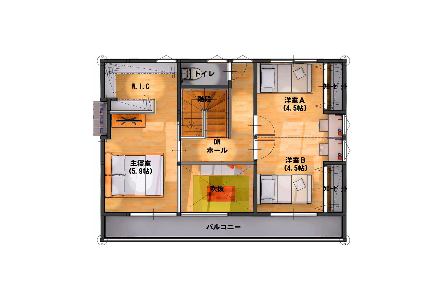 03 宮城県岩沼市吹上一丁目 3LDK (4LDKに変更可) 間取り図 2階