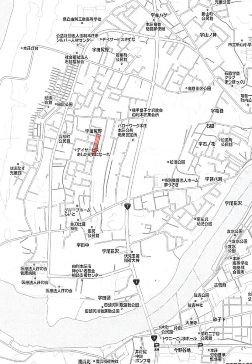 秋田県由利本荘市石脇字田尻野 土地 分譲地 No.37-2 現地案内図