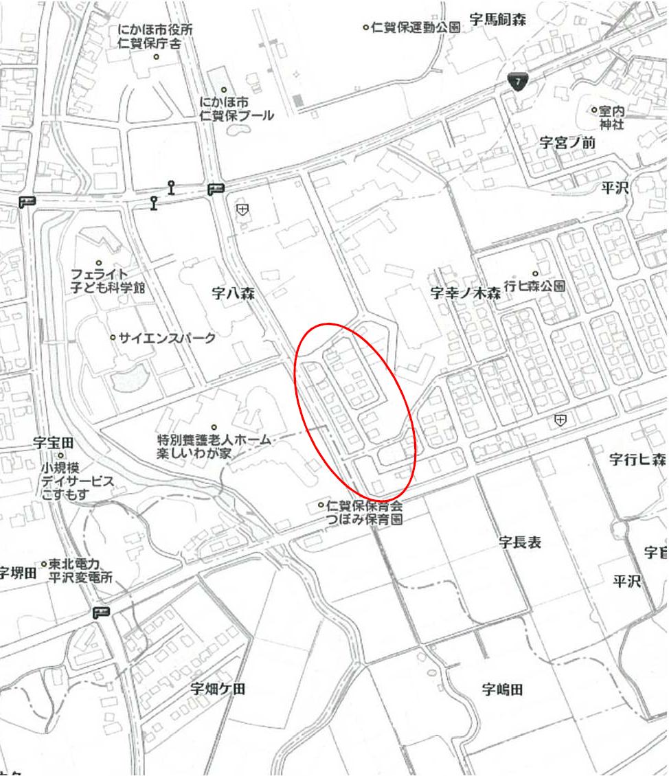 秋田県にかほ市平沢字行ヒ森幸ノ木森 土地 分譲地 案内図