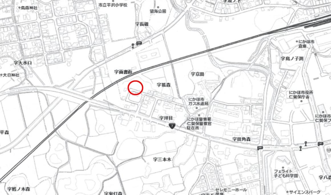 秋田県にかほ市平沢字狐森坪貝 土地 分譲地 No.1 現地案内図
