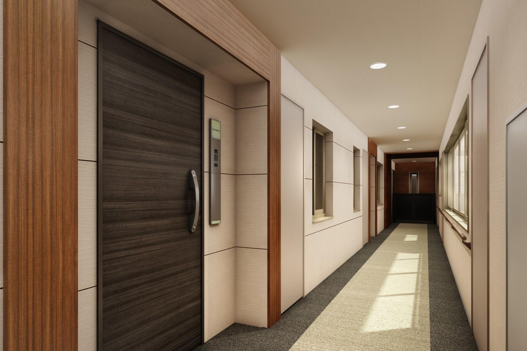 ザ・マークス南通 内廊下仕様の暖かく雪、雨、風の影響がない構造