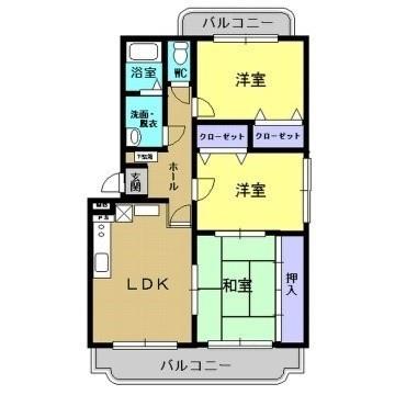 秋田県秋田市寺内高野 賃貸マンション 3LDK ユーミーコスモ 間取り図