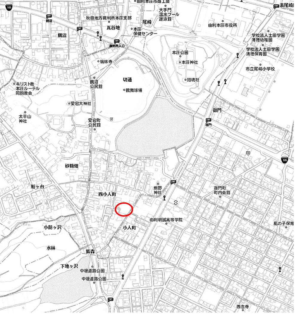 秋田県由利本荘市西小人町 土地 宅地 所在地案内図
