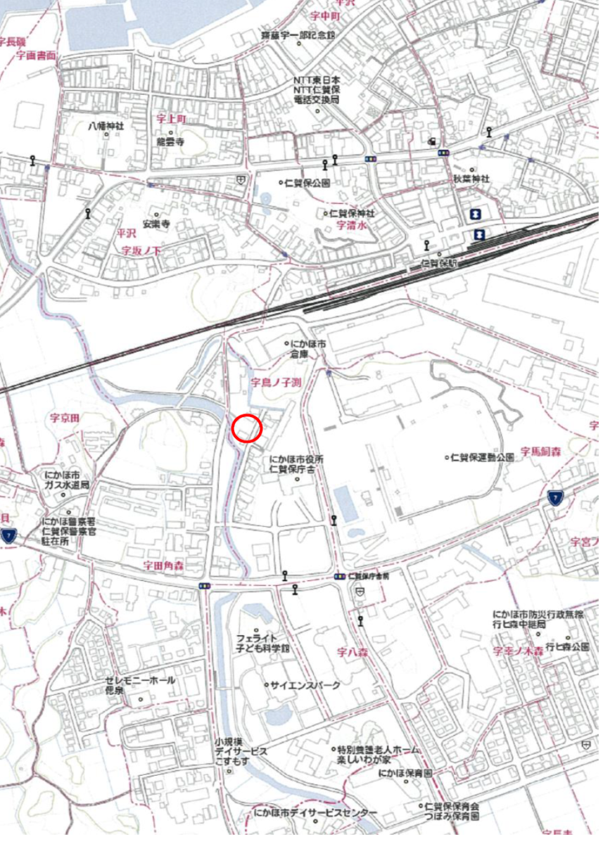 秋田県にかほ市平沢字鳥ノ子渕 土地 宅地 所在地案内図