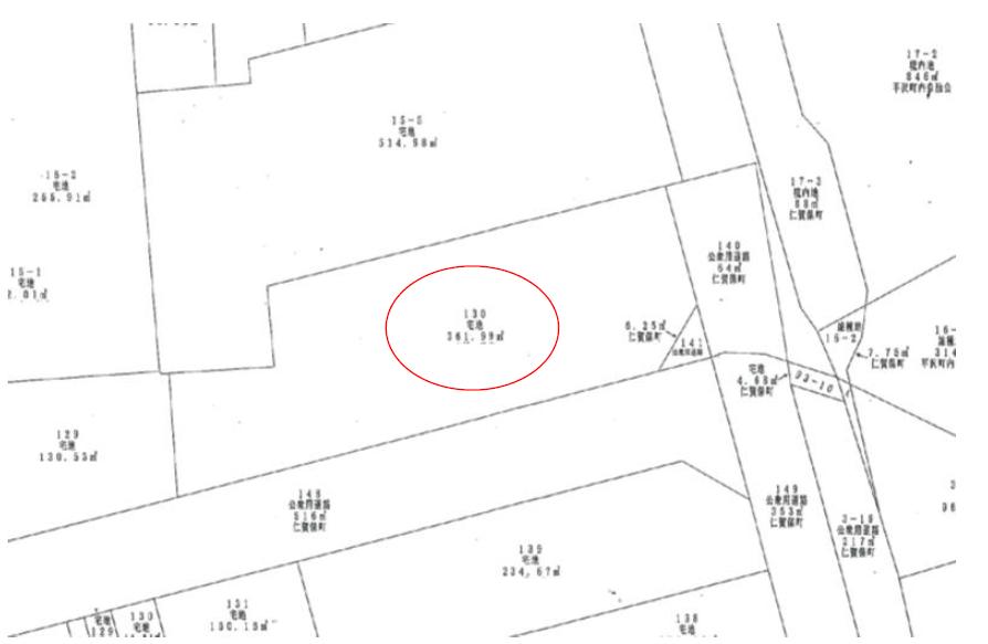 秋田県にかほ市平沢字中町 土地 宅地 公図