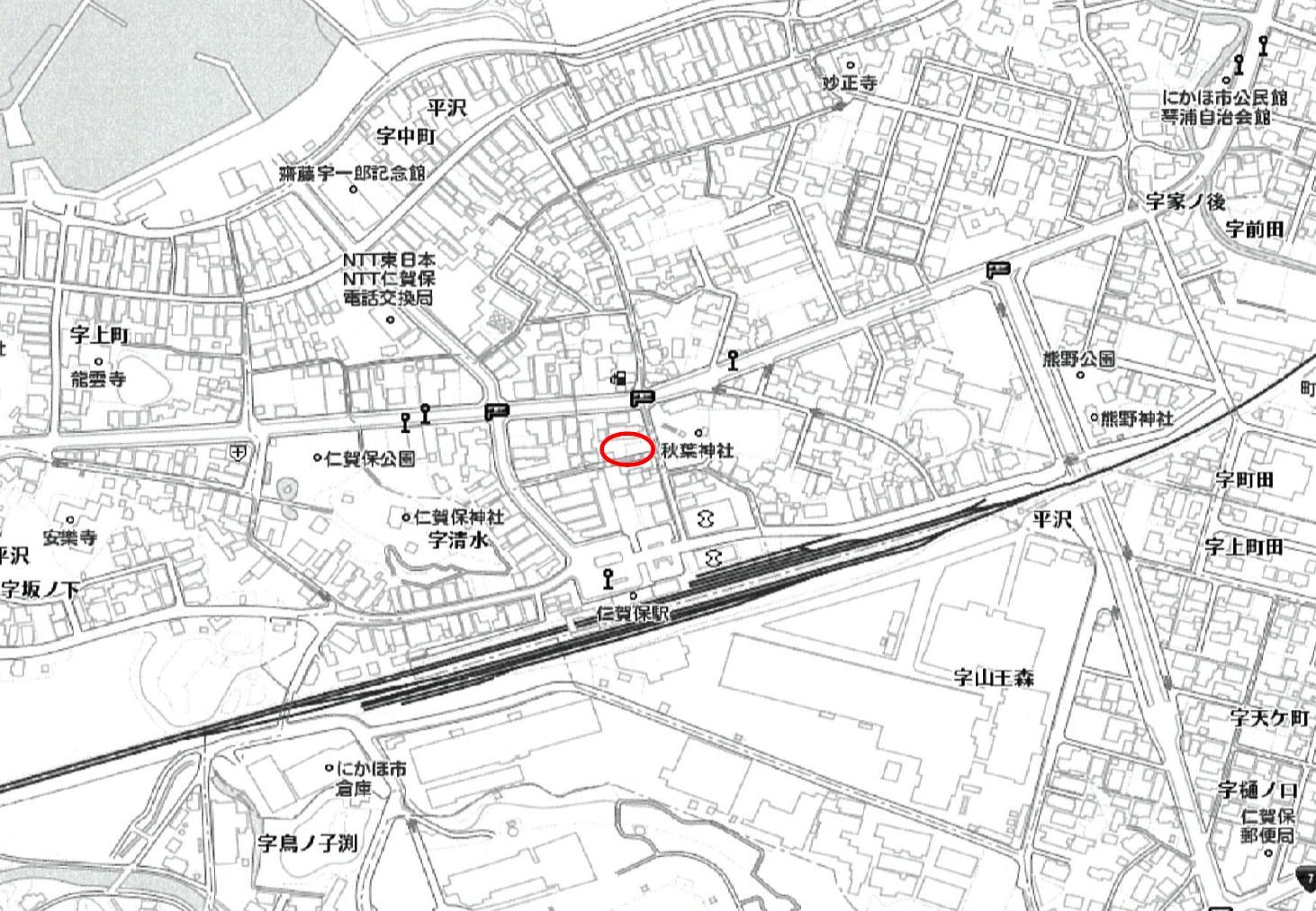秋田県にかほ市平沢字中町 土地 宅地 No.N1018 現地案内図