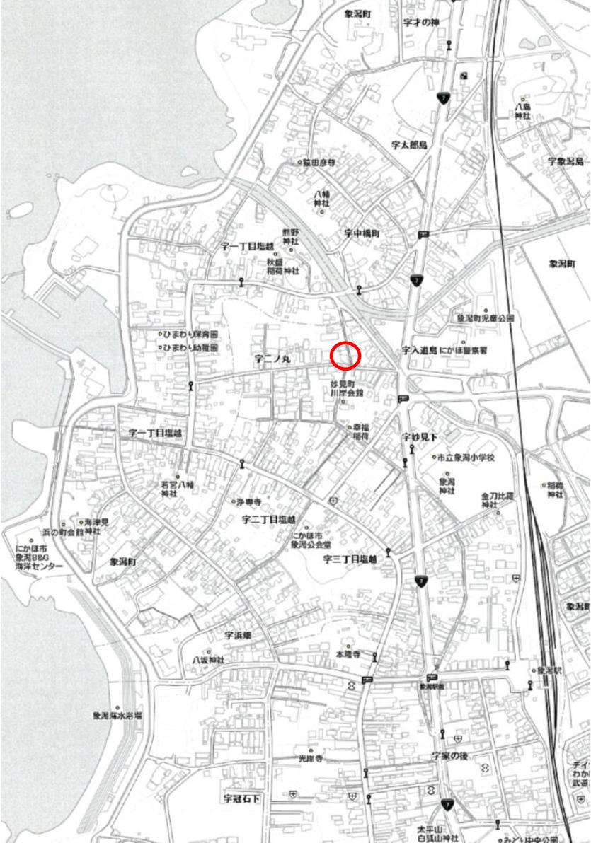 秋田県にかほ市象潟町字二ノ丸 土地 宅地 所在地案内図