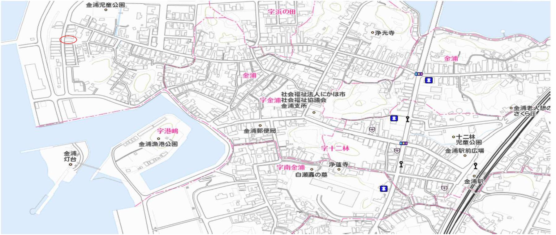 秋田県にかほ市金浦字塩焚浜 土地 宅地 所在地案内図
