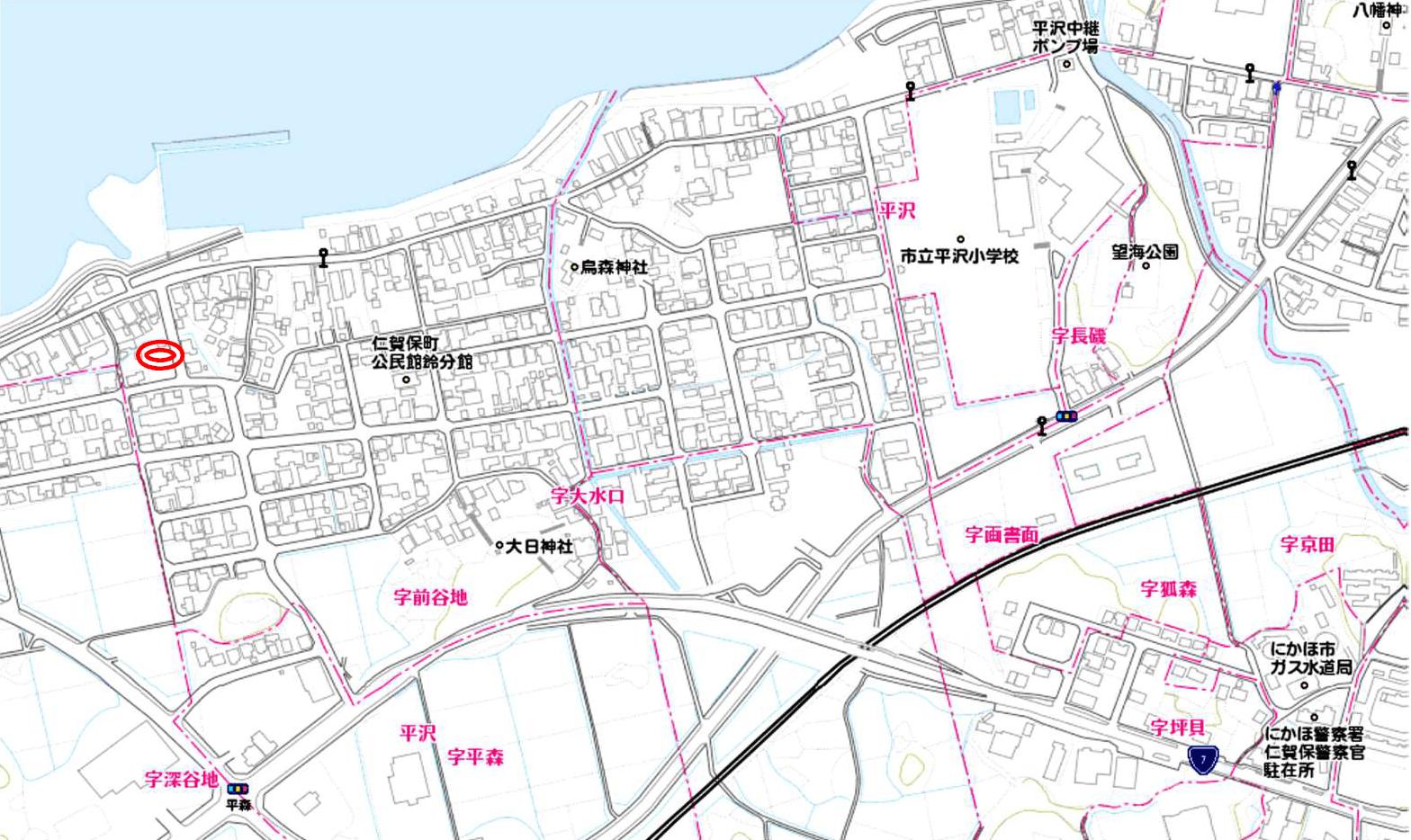 秋田県にかほ市平沢字前谷地 土地 宅地 No.N1025 現地案内図