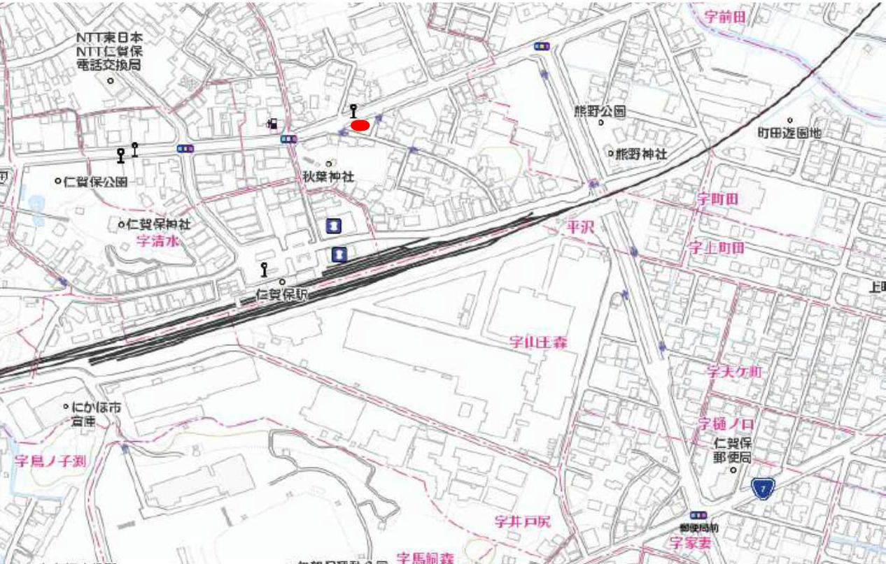 秋田県にかほ市平沢字新町 土地 宅地 現地案内図