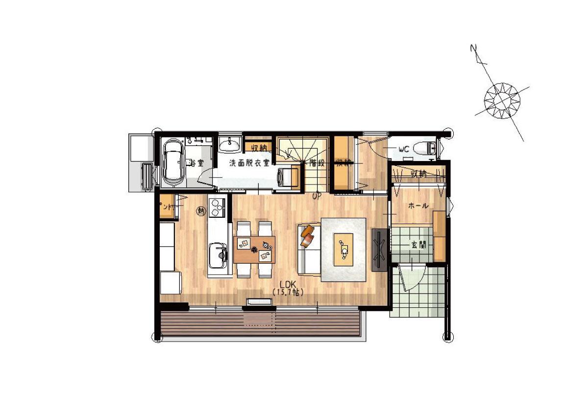 【秋田県・由利本荘市御門】2(3)LDK 新築戸建て・分譲住宅|1階間取り図