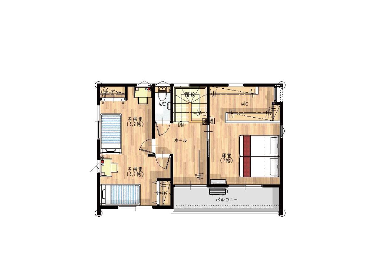 【秋田県・由利本荘市御門】2(3)LDK 新築戸建て・分譲住宅|2階間取り図