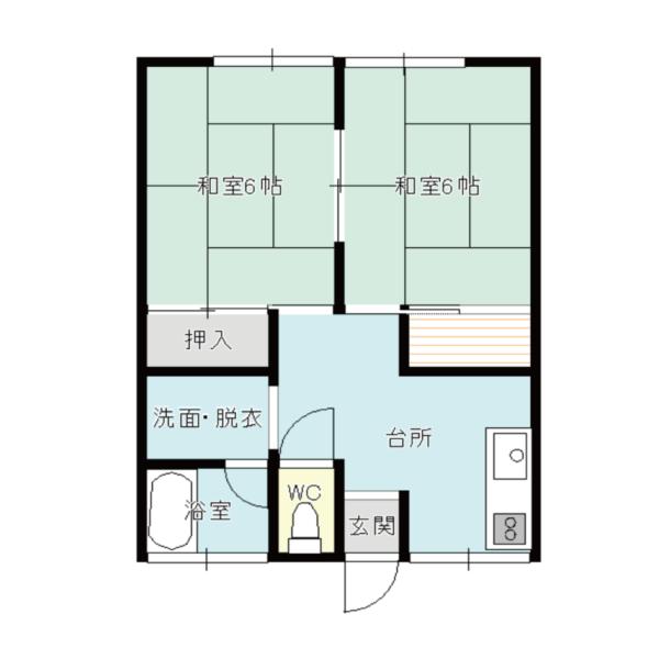 【秋田県・にかほ市平沢字石橋】賃貸 アパート 2K|親和ハイツ|間取り図