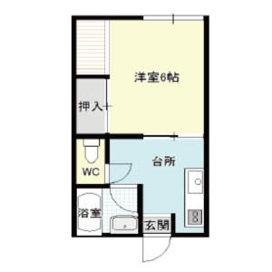 【秋田県・にかほ市平沢字館ヶ森】賃貸 アパート 1K メイプルハウス 間取り図