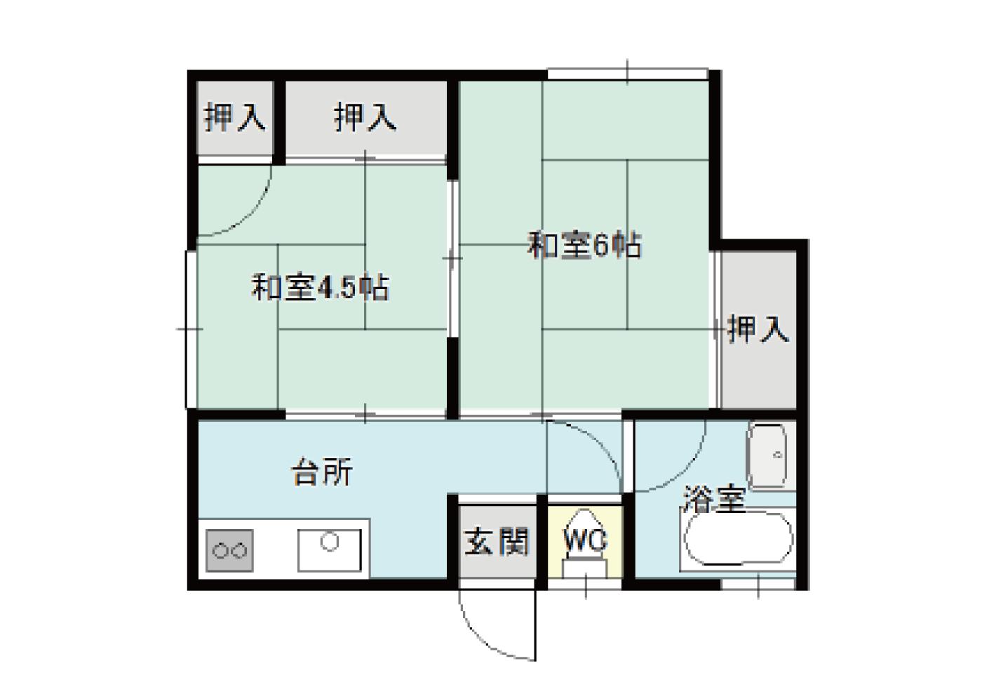 【秋田県・にかほ市平沢字石橋】賃貸 アパート 2K|阿部ハイツ|間取り図