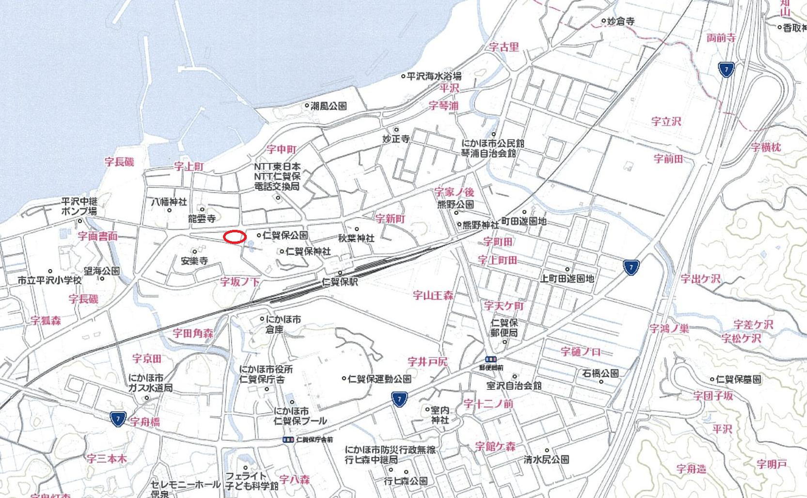 【秋田県・にかほ市平沢字上町】土地 宅地|No.N1028 現地案内図