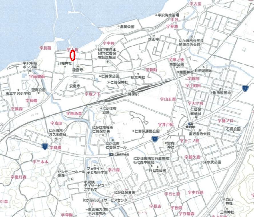 【秋田県・にかほ市平沢字上町】中古物件 戸建て 4LDK 現地案内図