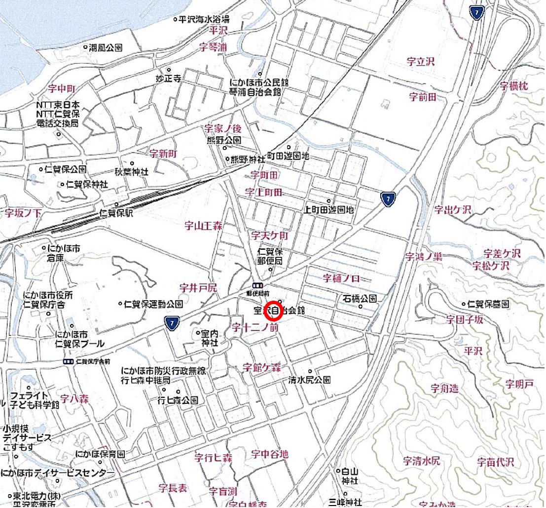【秋田県・にかほ市平沢字清水尻】土地 宅地|No.N1032 現地案内図