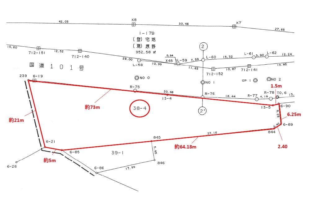 【秋田県・潟上市昭和大久保】土地 事業用地 公図寸法