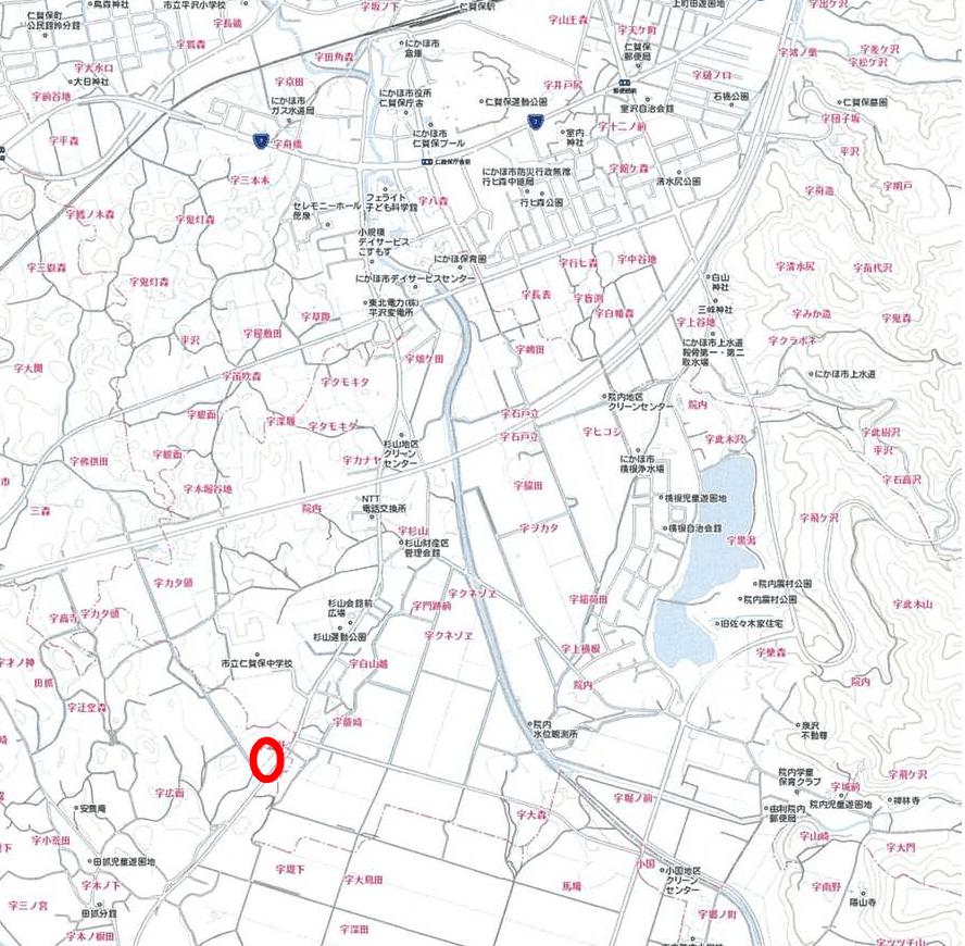 秋田県・にかほ市田抓字北野 中古物件 戸建て 所在案内図