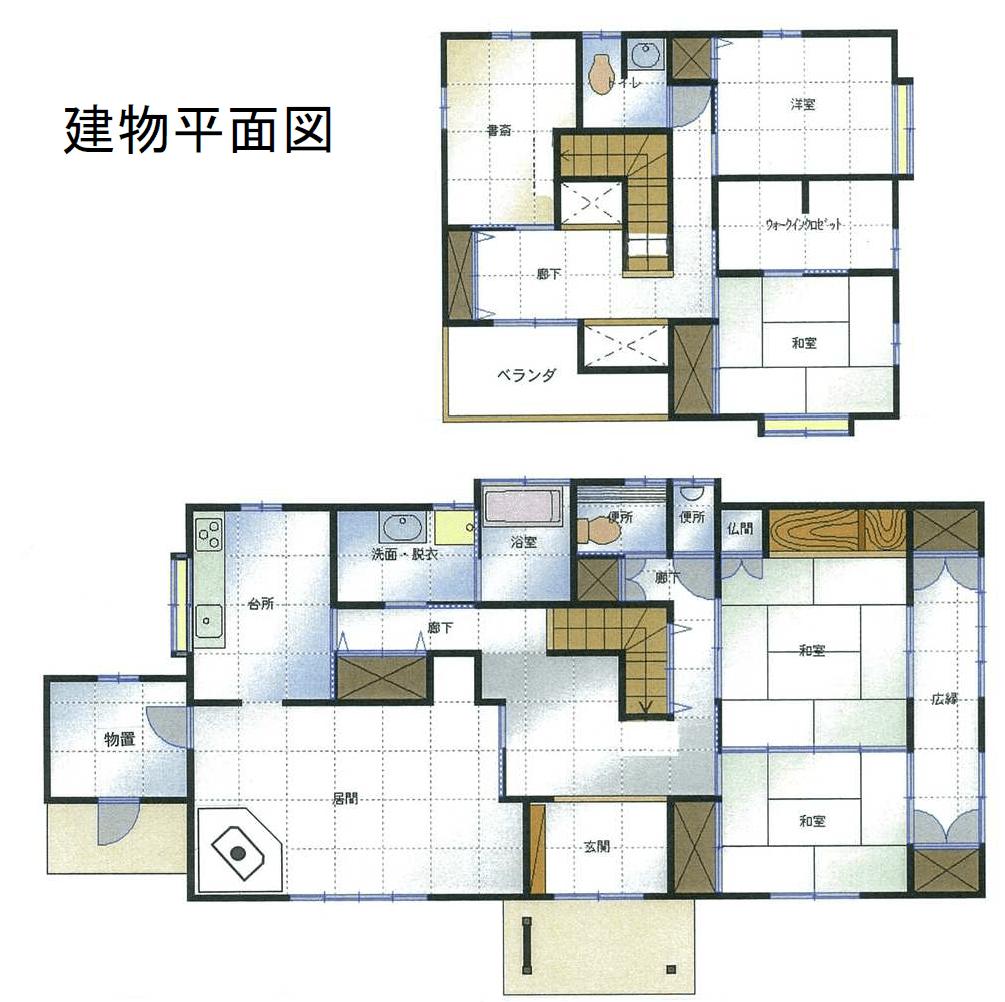 秋田県・にかほ市田抓字北野 中古物件 戸建て 建物平面図