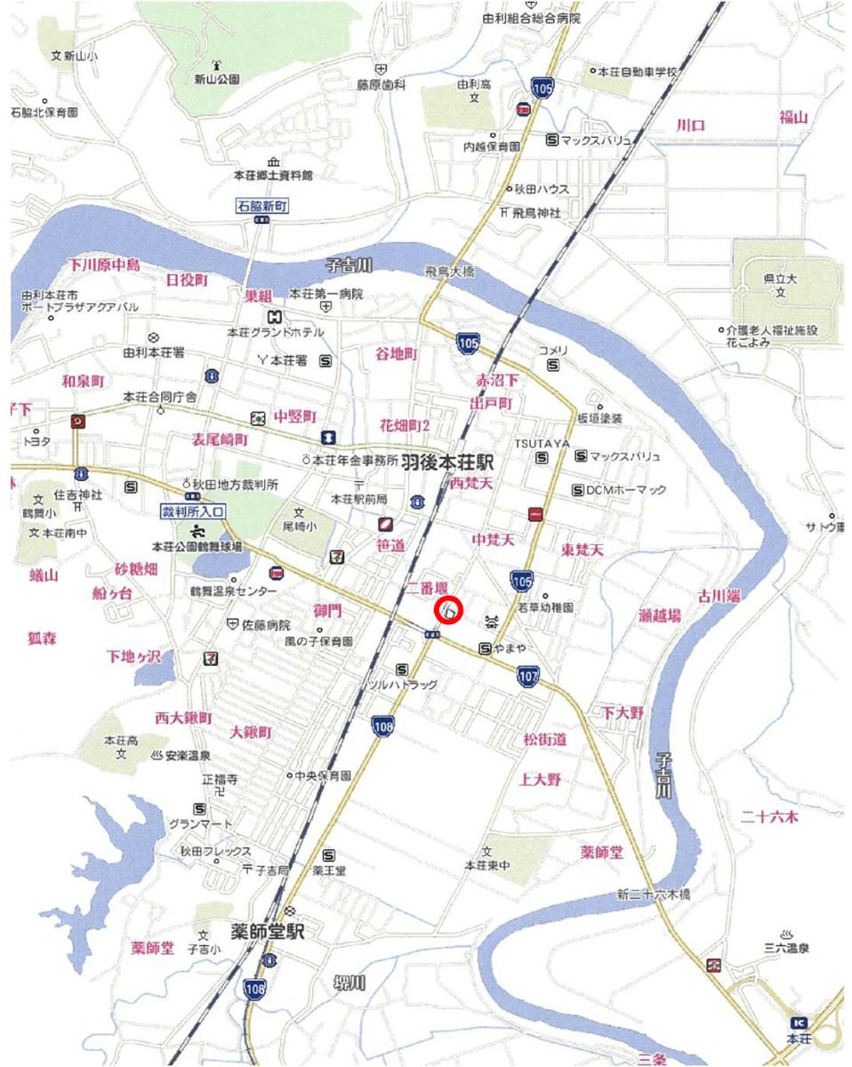 秋田県・由利本荘市一番堰 土地 分譲地 所在案内図