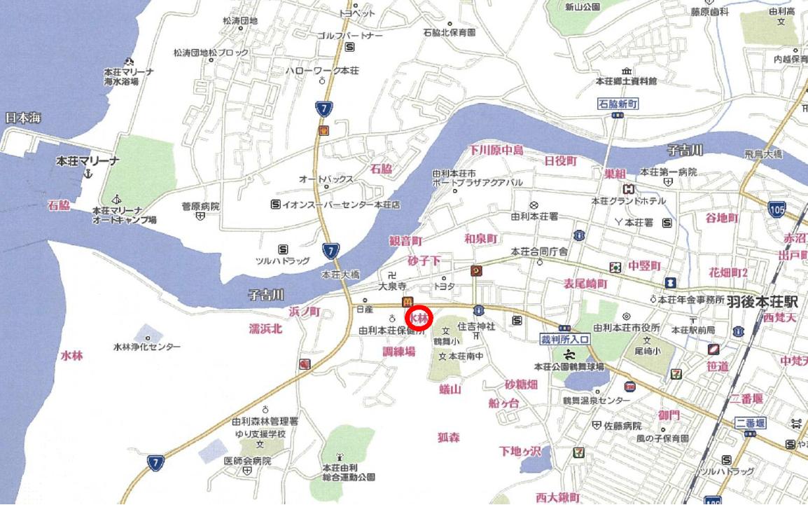 【秋田県・由利本荘市水林】土地 分譲地│No.9・10・11 所在案内図