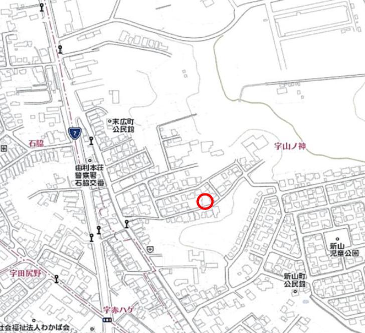 秋田県由利本荘市石脇字山ノ神 土地 宅地 No.H1009 現地案内図