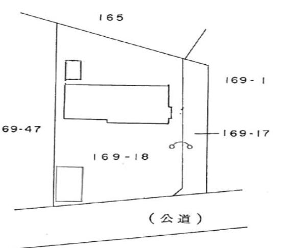 秋田県にかほ市金浦字岡の谷地 中古住宅 戸建て 5DK No.N2014 配置図