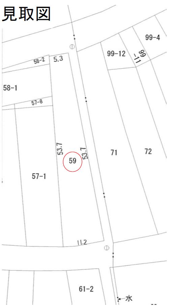 秋田県にかほ市平沢字上町 土地 宅地 No.N1038 見取図