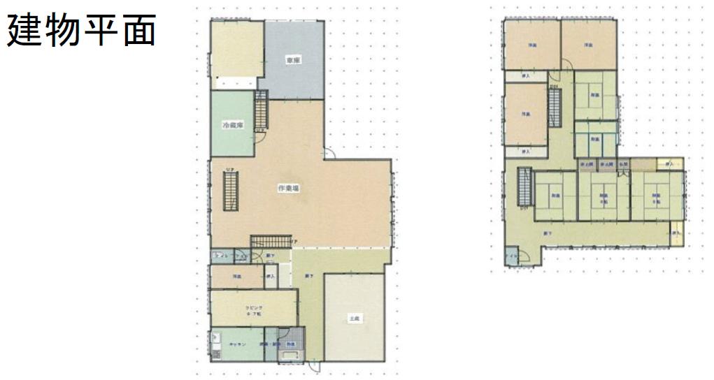 秋田県にかほ市平沢字中町 中古住宅 戸建て(工場) 9LDK N2015 建物平面図