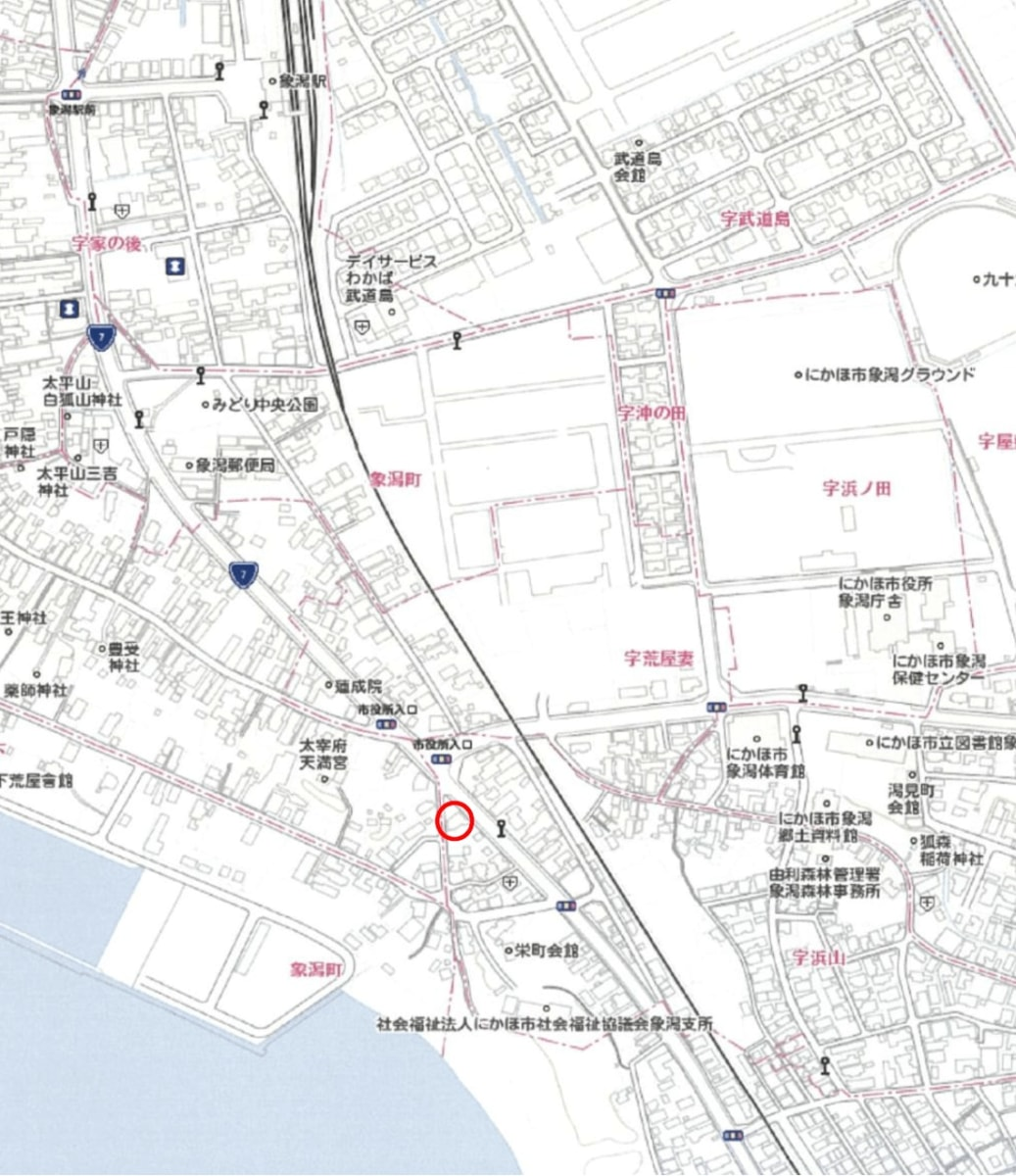秋田県にかほ市象潟町字浜山 土地 宅地 No.N1040 現地案内図