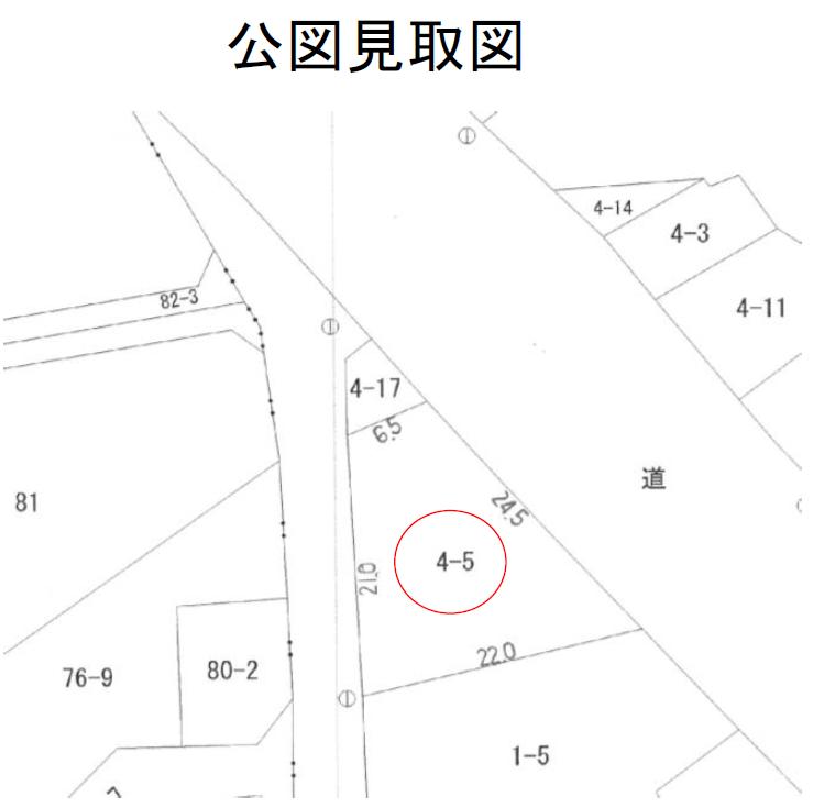 秋田県にかほ市象潟町字浜山 土地 宅地 No.N1040 公図見取図