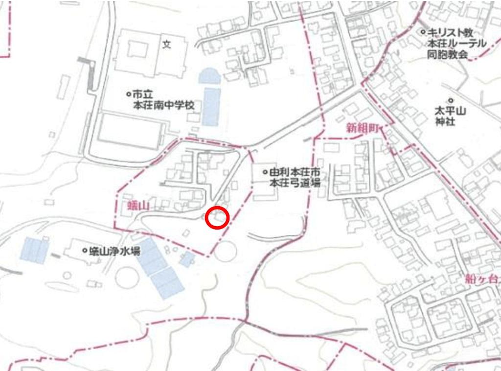 秋田県由利本荘市蟻山 中古住宅 戸建て 6DK H2013 現地案内図