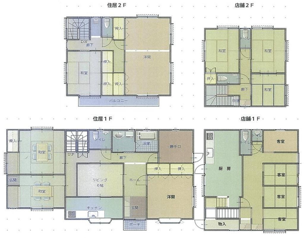 秋田県にかほ市平沢字清水 中古住宅 戸建て 5LDK+店舗 N2017 建物平面図