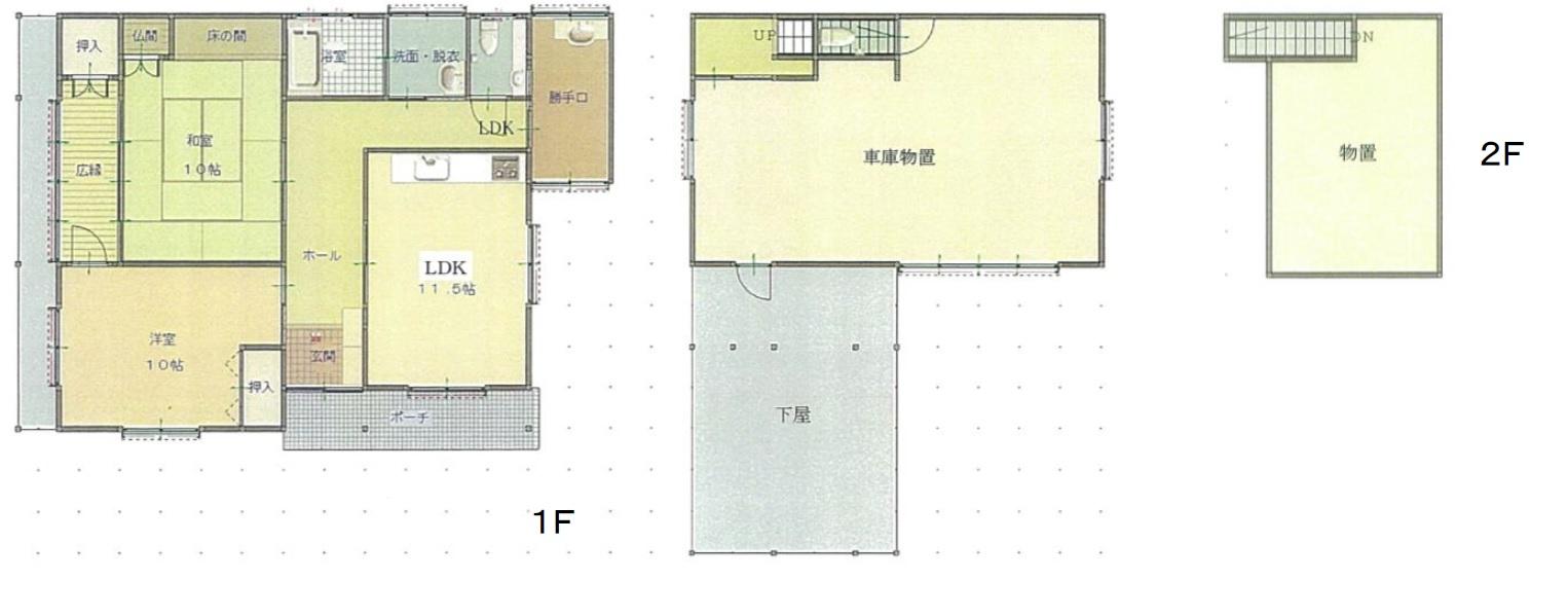 秋田県にかほ市金浦 中古住宅 戸建て 2LDK N2020 建物平面図