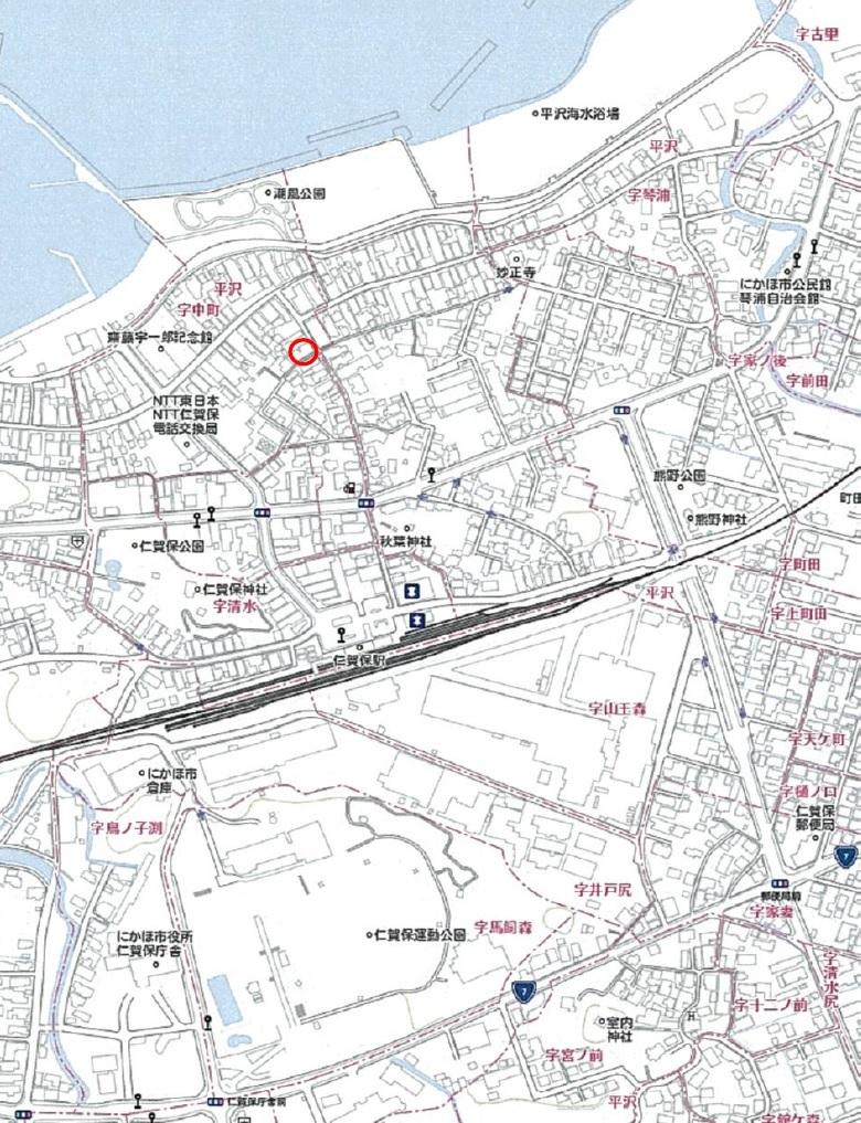 秋田県にかほ市平沢字中町 土地 宅地 No.1053