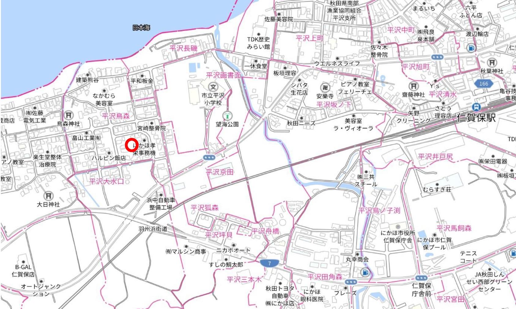 秋田県にかほ市平沢字鳥森 土地 宅地 No.1056 現地案内図