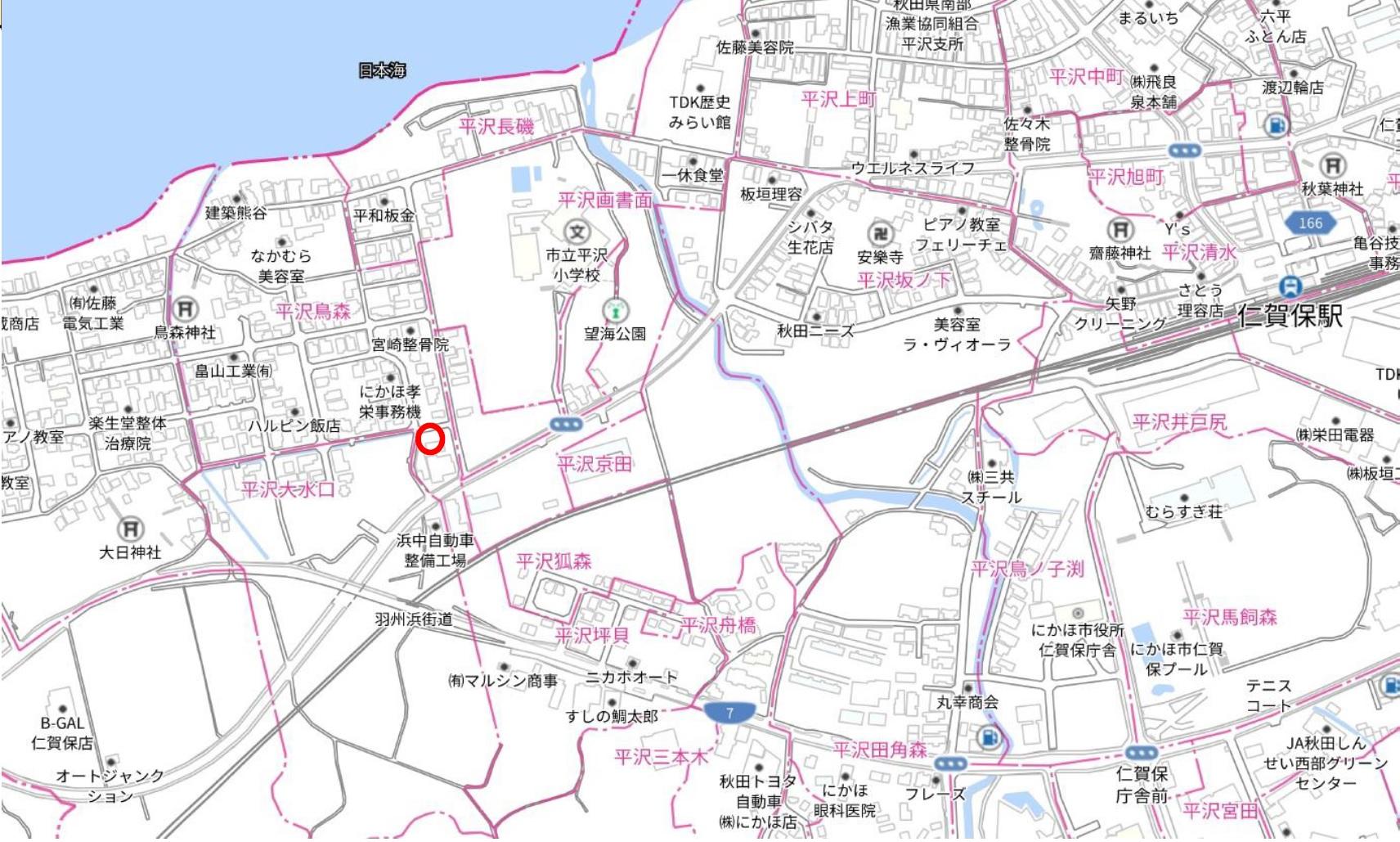 秋田県にかほ市平沢字鳥森 土地 宅地 No.1054 現地案内図