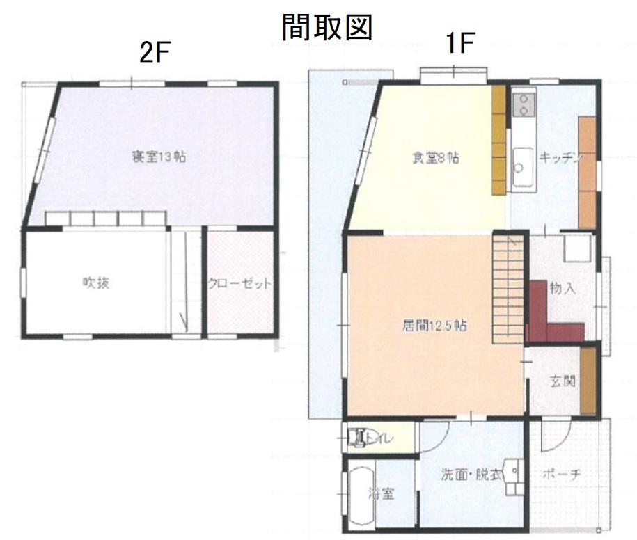 秋田県にかほ市象潟町 中古住宅 戸建て N2020 間取り図